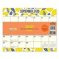 Bright Day Calendars 2021磁気冷蔵庫カレンダー壁のカレンダーパッド:明るい日、16ヶ月8 x 10インチ レモン