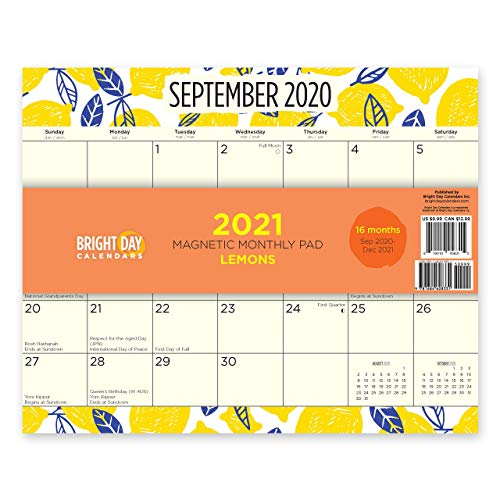 2021 Lemons Magnetic Refrigerator Calendar Wall Calendar Pad by Bright Day, 16 Month 8 x 10 Inch