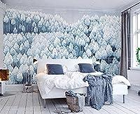 壁の壁画 壁紙 青い手描きの森 壁画 壁紙 ベッドルーム リビングルーム ソファ テレビ 背景 壁 壁面装飾のための,430x300cm
