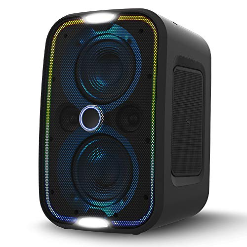 powered wireless speakers Brookstone Big Blue Go High Power Wireless Indoor/Outdoor Portable Speaker, Bluetooth, Built-in Qi Charging Pad, LED Party Lights, Karaoke Mic Input, High-Res Audio, Intense Bass, IPX5, Tap-to-Link