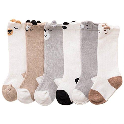 VWU 6 Pack Baby Girls Boys Knee High Socks Toddler Animal Socks (1-3 Years, Animal)