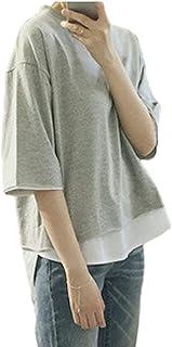 [SeBeliev(シービリーヴ)] 重ね着風 ゆったり Tシャツ 無地 インナー カジュアル シンプル 良質素材 速乾 部屋着