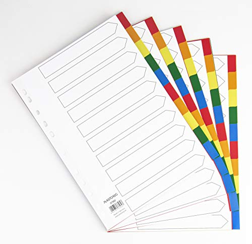 5er Set 10-teiliges Register/Trennblätter aus buntem stabilem PP, DIN A4 praktischem Deckblatt aus stabilem Papier zum Beschriften. Trenn-Blätter für die Ordner-Organisation im Büro