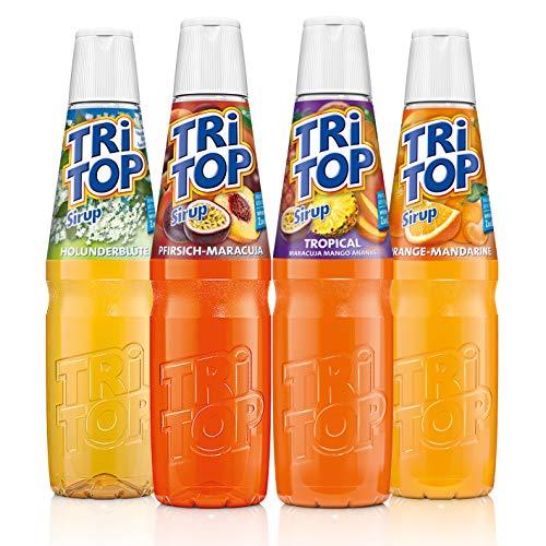 TRi TOP Getränkesirup 4er Set | Orange-Mandarine, Pfirsich-Maracuja, Tropic, Holunder | 3x600ml [5Liter Erfrischungsgetränk pro Flasche]