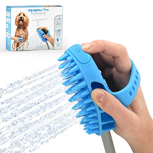 Aquapaw Pet Bathing Tool – Sprayer and Scrubber in One – Compatible with Indoor Shower or Outdoor Garden Hose – for Dog and Cat Grooming – Garden Hose and Shower Adapters Included