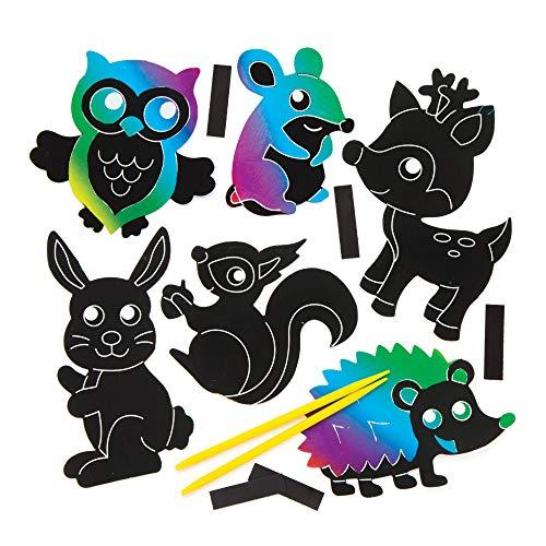 """Baker Ross Kratzbild-Magnete """"Waldtiere"""" für Kinder – perfekt für kreative Bastelarbeiten (10 Stück)"""