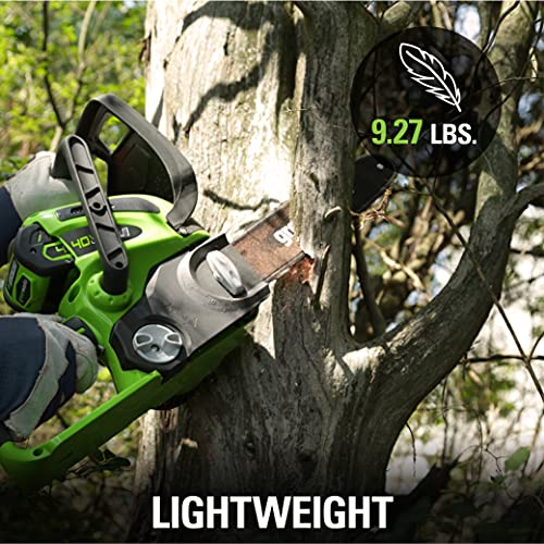 Greenworks 20262 12-Inch 40V Cordless Chainsaw, 2.0 AH Battery and Charger Included, (Old)