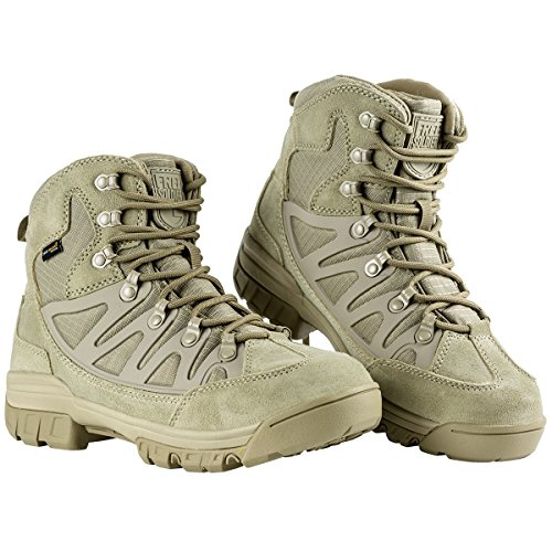 FREE SOLDIER Botas tácticas para Hombre Mid High Rise Senderismo Zapatos Botas de Invierno Piel, Hombre