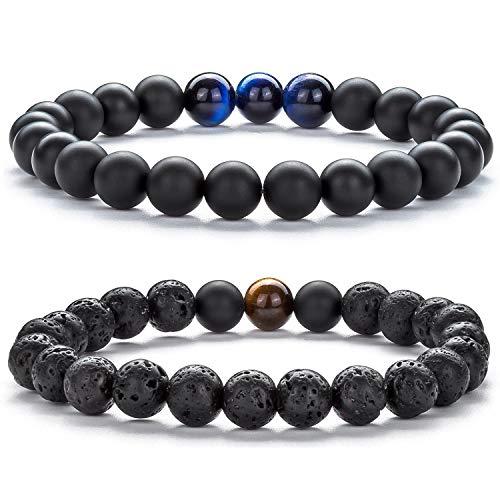 Hamoery Men Women 8mm Volcanic Stone Beads Essential Oil Couple Bracelet Elastic Natural Stone Yoga Bracelet Bangle(Set 3)
