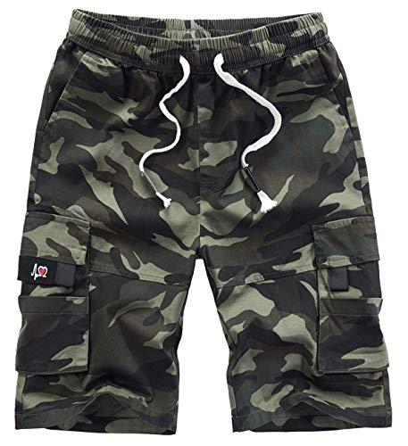 VtuAOL Men's Cargo Shorts Elastic Waist Casual Cotton Shorts with Multi Pockets CP Camo Asian 6XL/US 38