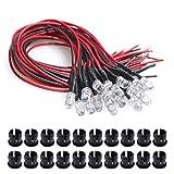 YXPCARS 20Pcs 5mm LED Diode mit 20cm Kable LED Leuchtdioden DC 12V LED fertig verkabelt (weiß) + 20Pcs 5mm LED Montageringe Plastik