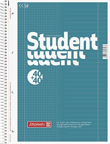Brunnen 1067974 Notizblock / Collegeblock Student Duo (A4 liniert (Lineatur 27, Lineatur 28) 70 g/m² 40 Blatt liniert, 40 Blatt kariert)