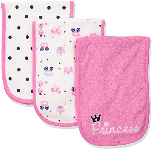 Gerber Baby Girls' 3-Pack Terry Burp Cloth, Pink Princess, 18