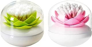 Dofover 2 Pack Creative Lotus Cotton Swab Holder Q-Tips Toothpicks Holder Table Decorate Cotton Bud Storage Box Organizer