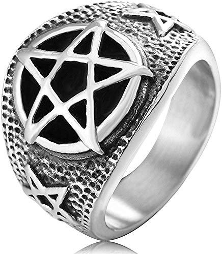 LAMUCH Men's Vintage Gothic Stainless Steel Rings Worship Baphomet Ram Sheep Goat Head Horn Biker Rings US Size 7-13