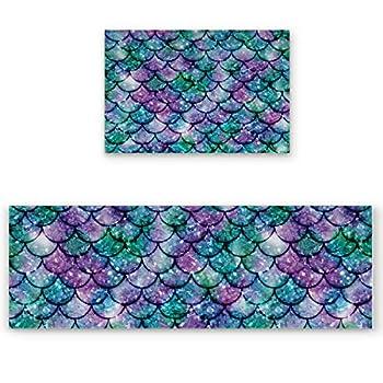 Victories Kitchen Area Rug Pad Set 2 Piece-Non Slip Comfort Cushioned Doormat,Green Purple Scale Sequined Mermaid Floor Mat Rug Runner Set Kitchen/Living Room/Bedroom Carpet