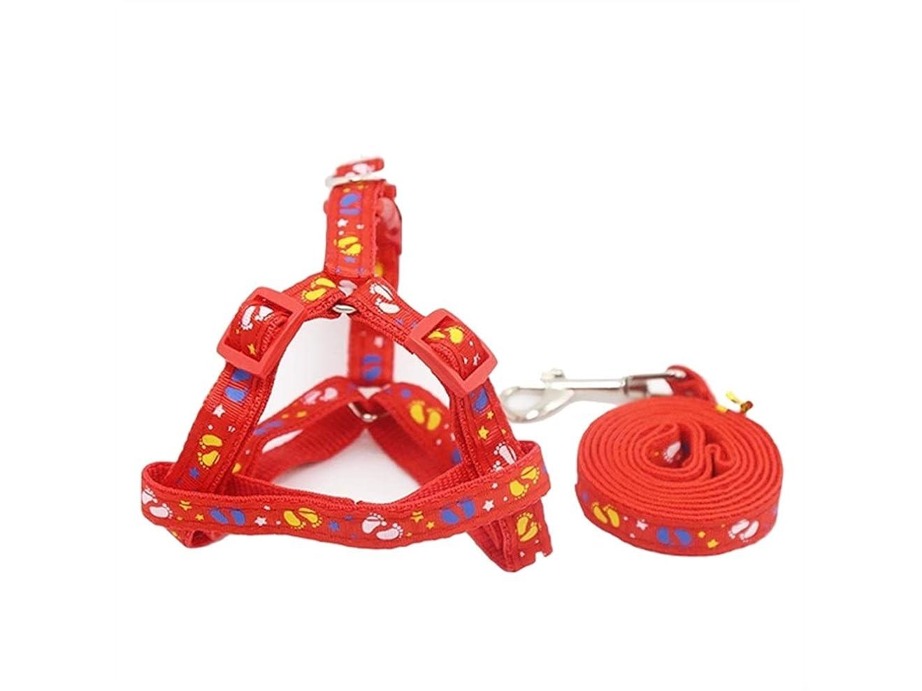 スロープ独立に向けて出発Oside ペットパーソナライズされたパッチグリッドチェスト猫dog_Sのためのストラップドッグチェーン/リーシュ/ロープカラー (色 : Red, サイズ : S)