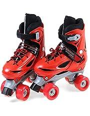احذية تزلج للاطفال المبتدئين مع مزلجتين مزودتين بصفين يحتويان على اربعة عجلات قابلتين للتعديل للعب بالاماكن الداخلية والخارجية - بعجلات