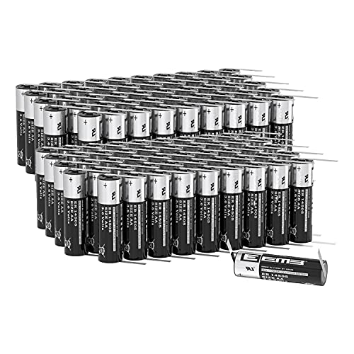 100X EEMB ER14505 Non-Rechargeable 3.6V Lithium Battery with Tabs Li-SOCL₂ AA Size 2600mAh High Capacity UL Certified Single-Use 3.6V Lithium Thionyl Chloride Battery DO NOT Charge Battery