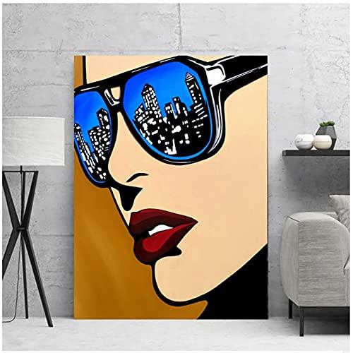 Jinbox Decorazione Domestica Pittura su Tela Immagini di Donne Urbane Stampe di Arte della Parete Poster Moderni per Camera da Letto della ragazza-20x28 Pollici x1 Senza Cornice