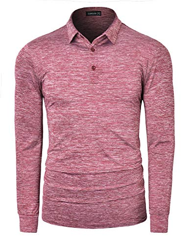 TAPULCO Dry Fit Golf Shirts for Men Stretch Tech Performance Ventilated Stripe Long Sleeve Polo Athletic Casual Collared T-Shirt Striped Maroon XX-Large