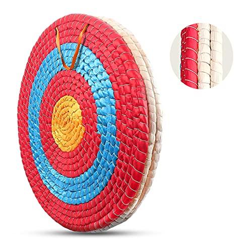 Deweey Zielscheibe für Bogenschießen 50x50cm traditionelle handgemachte Feste Strohzielscheibe für Outdoor-Praxis