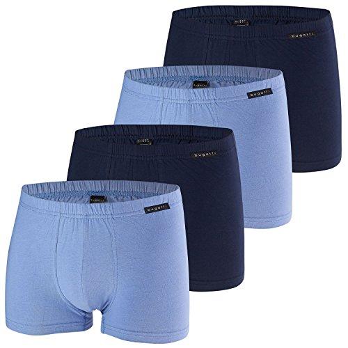 Bugatti Herren Boxershorts, Pants, 4 Stück (6, Navy/Blau)