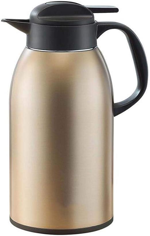Vakuumkanne mit Druckknopf DUHUI POT Doppelwandige vakuumisolierte Kaffeekanne aus Edelstahl W/ärmekaraffe 2 Liter