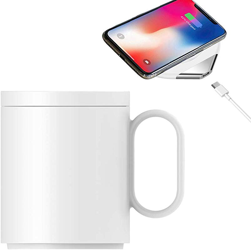 Eaglean 2 In 1 Coffee Mug Warmer With Wireless Charger 55 Degree Thermostatic About 122 F 50 C Heating Warm Cup Wireless Charger Coaster Hot Warm Coffee For Home Office Use White