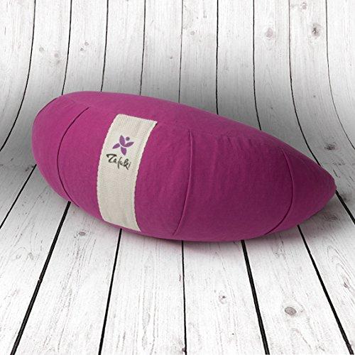 ZAFUKI Cojín Media Luna Yoga, PÚRPURA, Relleno de cáscara de espelta/zafu/Cojín de meditación/Base para meditar. Material: 100% algodón