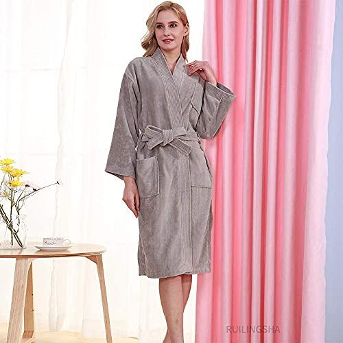 JJYY Bata de vellón para Mujer, Albornoz cálido de Invierno 100% algodón Kimono de Toalla súper Suave para Hotel con Bolsillo Batas mullidas para Mujer Ropa de Dormir Loungewear, Talla