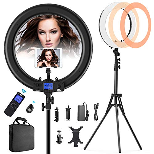 """Ring Light with Wireless Remote and iPad Holder, Pixel 19"""" Bi-Color LCD Display Ring Light with Stand and Selfie Remote, 55W 3000-5800K CRI≥97 Light Ring for Live Stream Self-Portrait Video Shooting"""