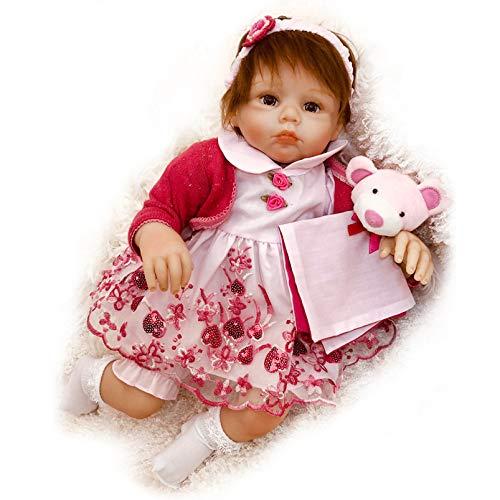 Yeah-hhi 20 Pulgadas Muñecas Reborn Soft Real Touch Vinyl Baby Girl Simulación Reborn Baby Doll for Kid Toy Christmas Birthday Regalo