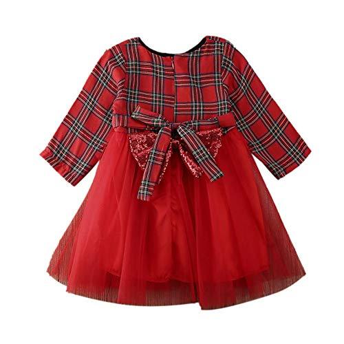 Carolilly - Vestido de madre e hija a juego con vestidos florales para fiestas de Navidad y familia para mujeres y niñas. rojo 3-4 Años