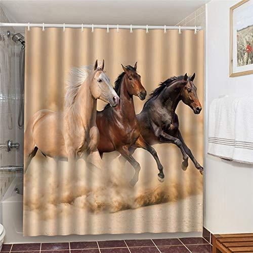 XCBN Juego de baño de Tela Impermeable con Cortinas de Ducha Unicornio Caballo Lobo Elefante decoración de baño Pantalla 3D Ducha A1 90x180cm