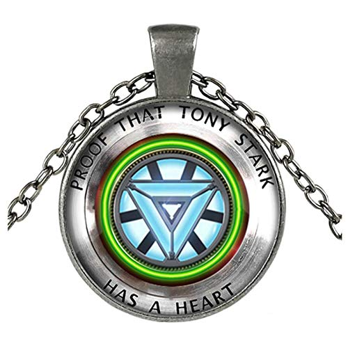 Bosi General Merchandise Los Vengadores, Corazón de Iron Man, Collar de Gemas del Tiempo, Colgante de Metal, Accesorios de joyería
