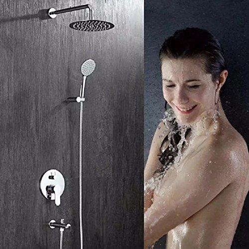 ZHGI Tutto-rame tenda-scuro nella parete doccia, calda e fredda doccia set doccia, rubinetto