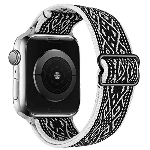 VISOOM Stretchy Band Compatible with Apple Watch 38mm/40mm/42mm/44mm-Apple Watch Strap for iWatch Series 6/SE/5/4/3/2/1 Accessories Elastics Sports Replacement for Men Women (Black White Rhombus, 42mm/44mm)