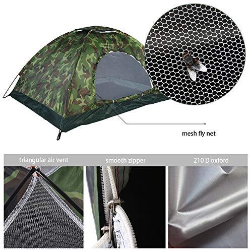 Tienda de campaña 2 Personas, Camping al Aire Libre Camuflaje protección UV Impermeable 2 Persona Carpa para Acampar Senderismo Pesca Picnic jardín de Viaje con Bolsa de Transporte