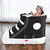 N/G Portable Adults Bathtubs, Movable Shoes Style Folding Tub Bath Barrel Home Convenient Thickening Bath Tubs Set Plunge Pool Spa for Family