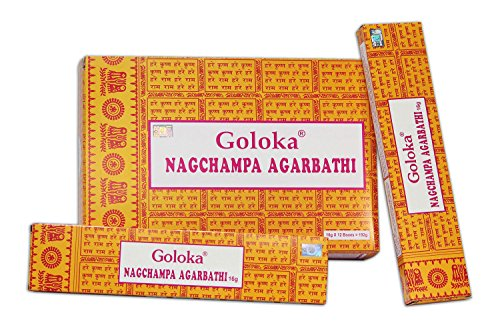 Goloka Nagchampa Agarbathi - 12 boîtes Parfum Nag Champa Bâtonnets d'encens indiens