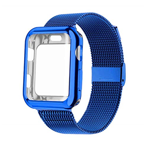 Milanese Loop Band with Case For Apple Watch Series 6/SE/5/4, Stainless Steel Strap Wrist Bracelet for iWatch-blue,38mm Series 1 2 3