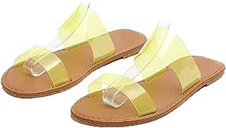 Women's Fluorescent Transparent Flat Slide Sandals Double Straps Slip On Beach Shoes