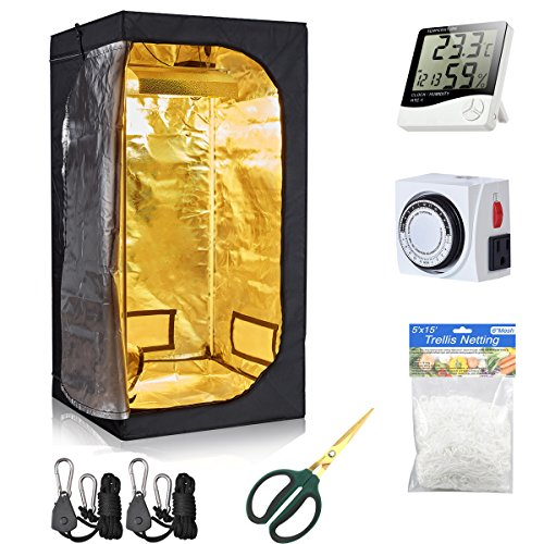 Hydro Plus Grow Tent Room Kit Indoor Plants Growing Room+24 Hour Outlet Timer+60mm Bonsai Shear+Plant Trellis Netting+Light Hangers for Hydroponics Growing System(32''x32''x63'' Kit)