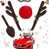 Sunshine smile Auto mit Geweih,4 Auto Weihnachten deko,Autokostüm Reindeer,Auto Rentier kostüm,weihnachtsdeko Auto,Rentier für Auto,Weihnachts Auto,Rentiergeweihe,weihnachtsdeko,Auto Dekoration Kit