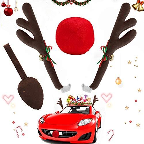 Sunshine smile Corna di Renna,Auto Veicolo Natale Decorazione,Corna di Renna di Natale,Decorazione Auto Natale,Auto Accessori Macchina Natalizi, Corna Renne, Renna Antler (4)