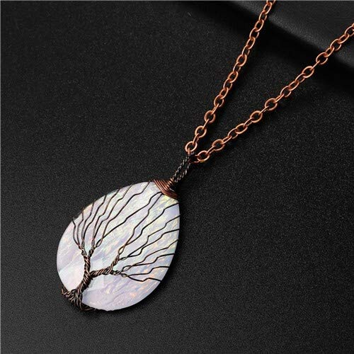 LKJH Fashion Handgemaakte Tree of Life koperdraad Verpakt Ketting Hanger Blue Hars Plastic Water Drop Healing Crystal Ketting (Metal Color : FA295 4)