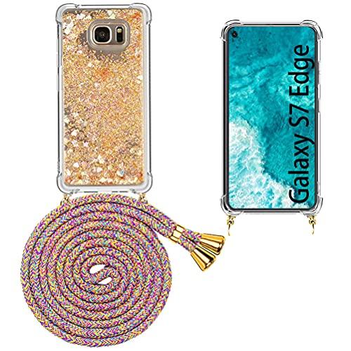 Mkej Glitter liquida Case Colgante movil con Cuerda para Colgar Samsung Galaxy...