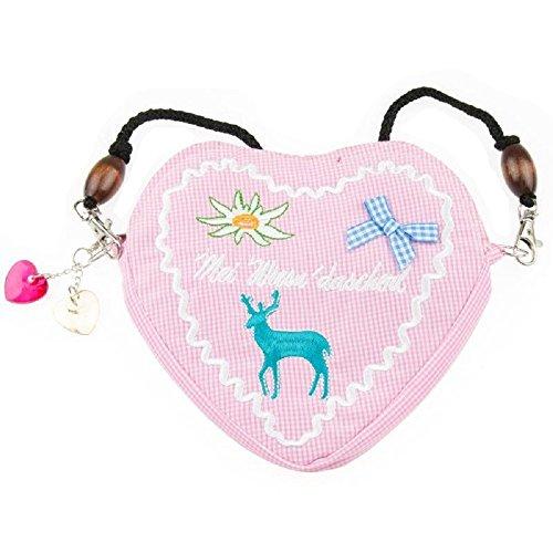 Edelweiss Trachten Tasche Oktoberfest Dirndl Herzform abnehmbarem Langer Kordel Rosa
