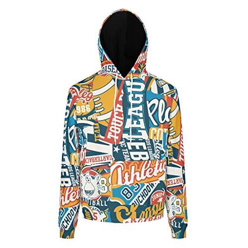 BOBONC Graffiti bedrukte mannen sweatshirts grappig comfortabel trui met zakken trekkoord